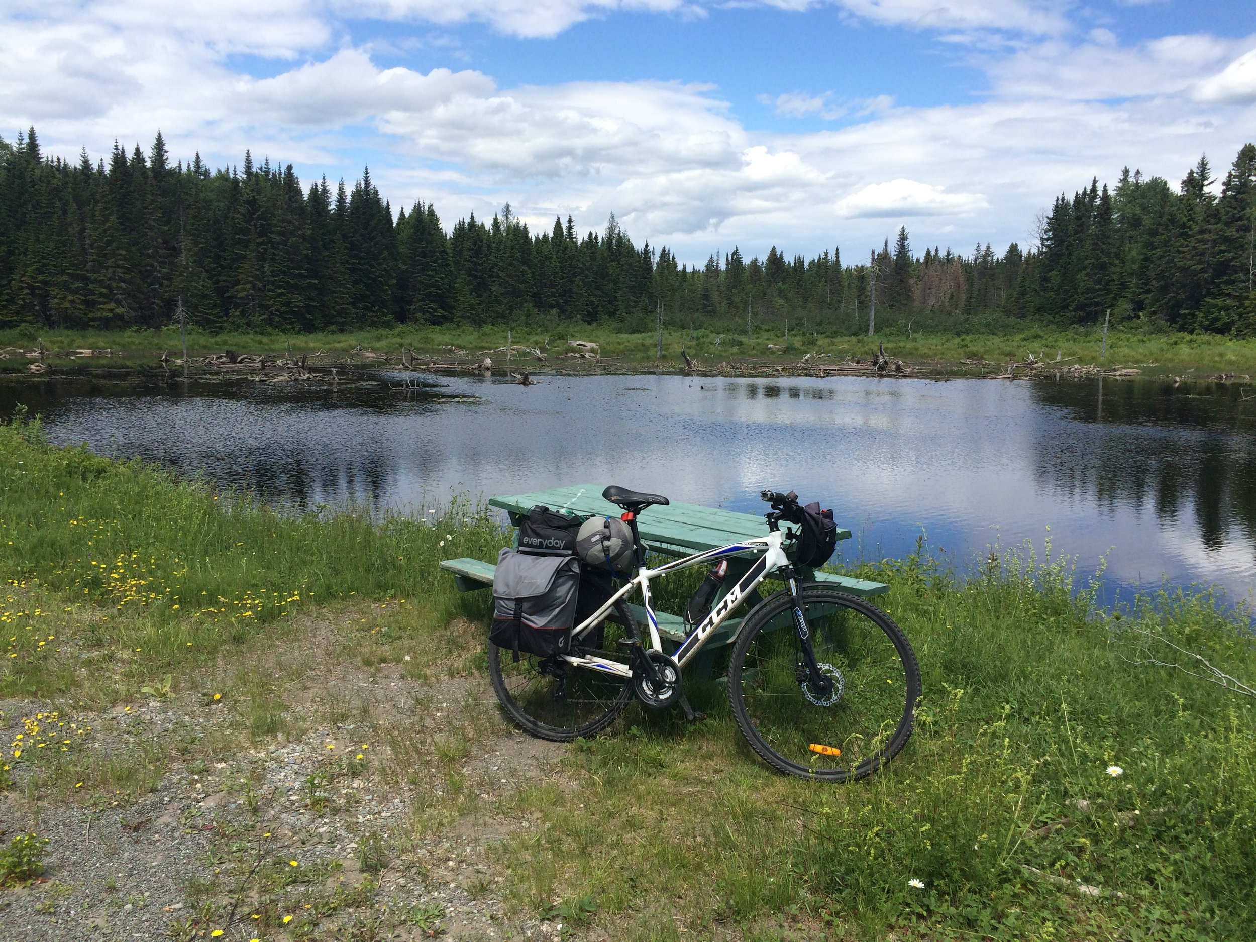Found a lake near the peak of the climb to relax by (and eat by)