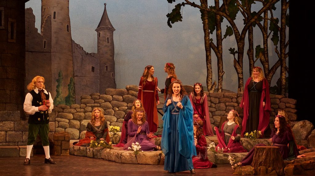 Lady Angela ( Patience ), with several melodramatic lovesick maidens and David Macaluso as Grosvenor, at Kaye Playhouse (Credit: William Reynolds)