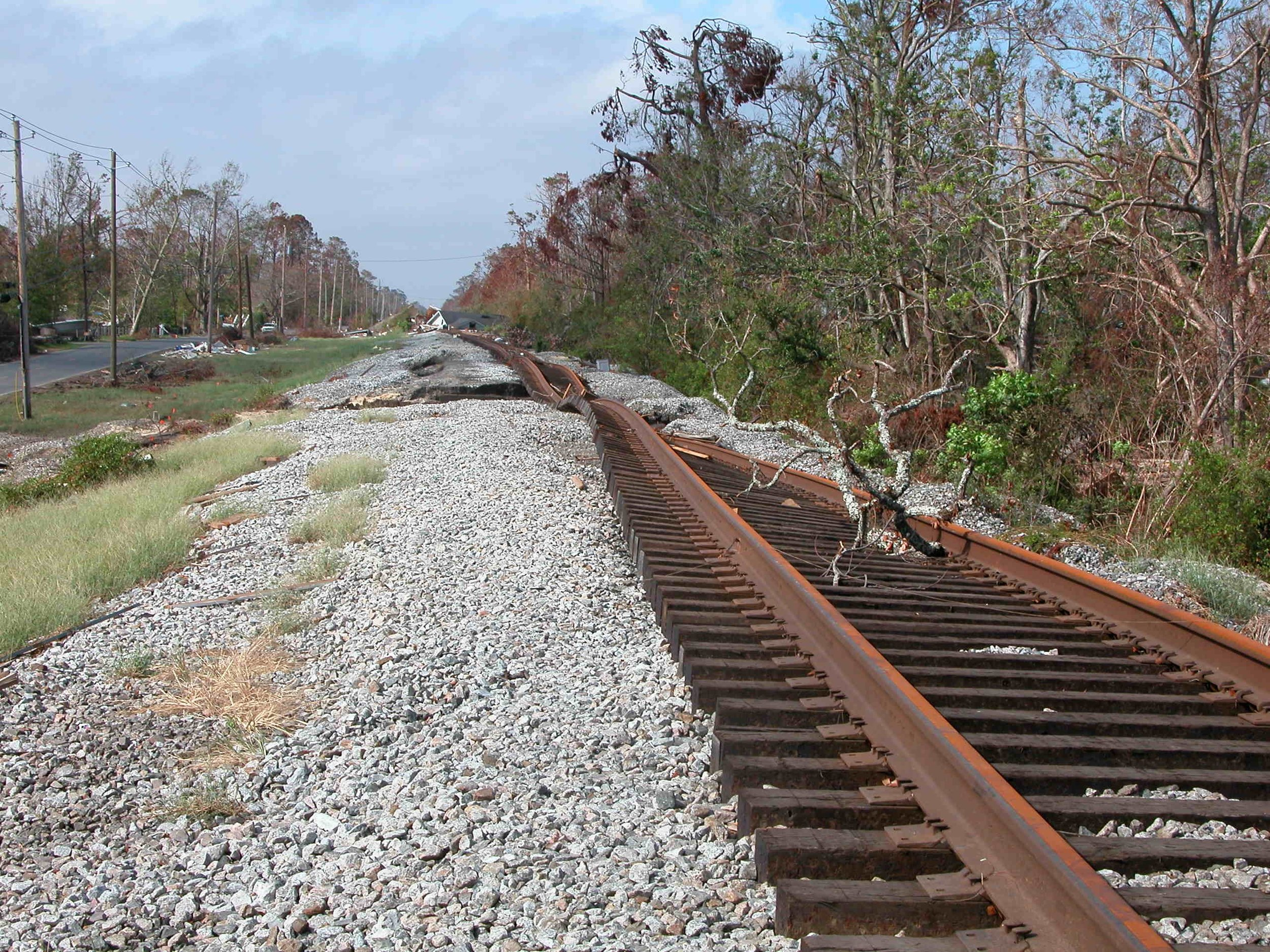 6. The twisted rails throughout the region served as a stark reminder of the power of a storm surge.