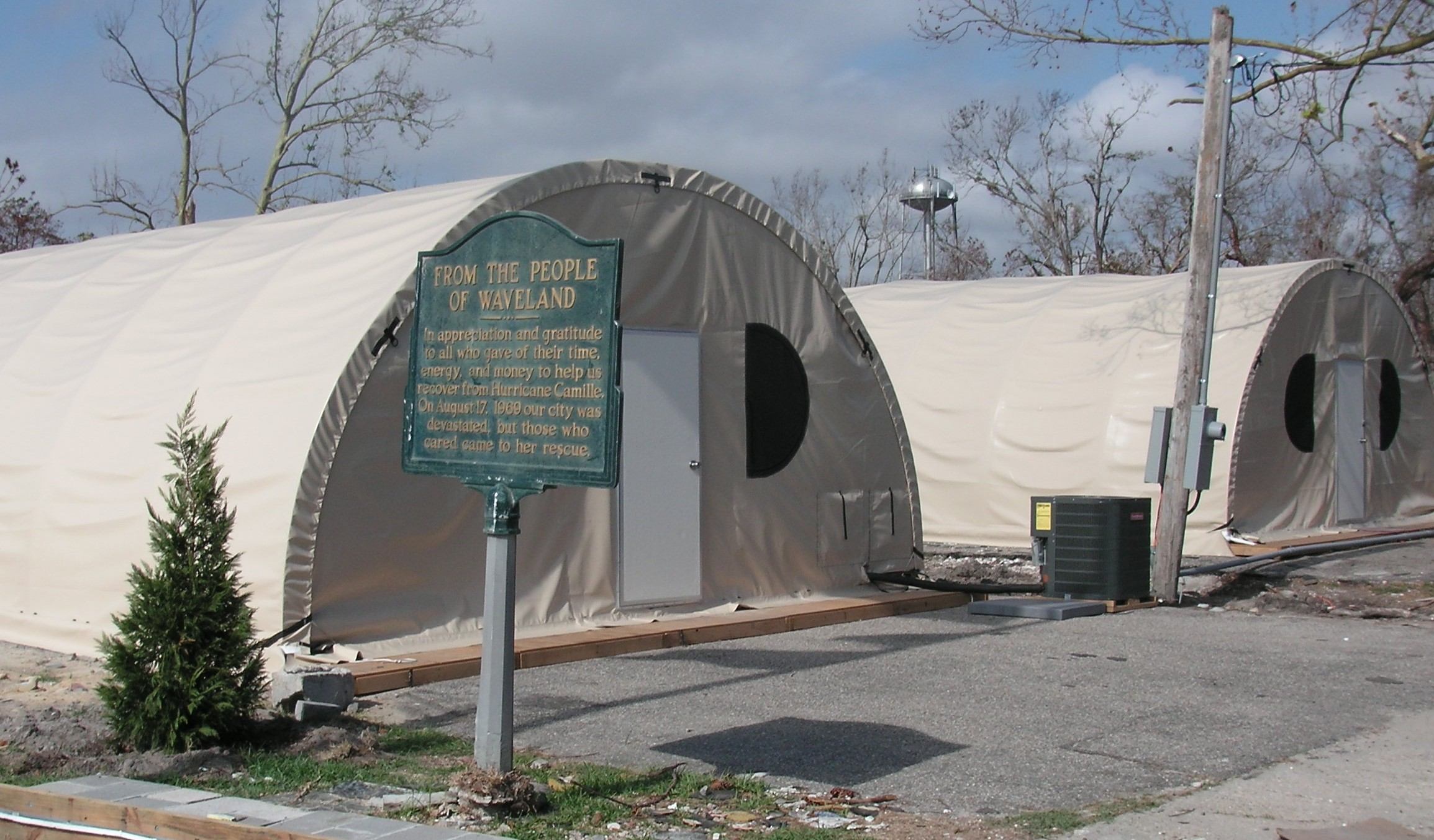 17. Photo shows the temporary city hall erected in Waveland just weeks after Hurricane Katrina.