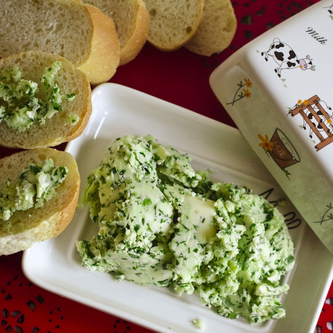 On medium speed, beat 1 cup salter butter, at room temperature until light and fluffy. Add 4 tsp whiskey, 2 Tbsp chopped parsley and 1 clove minced garlic, mixing well. Spoon into a small crock or roll into a log and wrap in parchment paper; freeze until set (about 30 minutes) and chill until ready to serve.