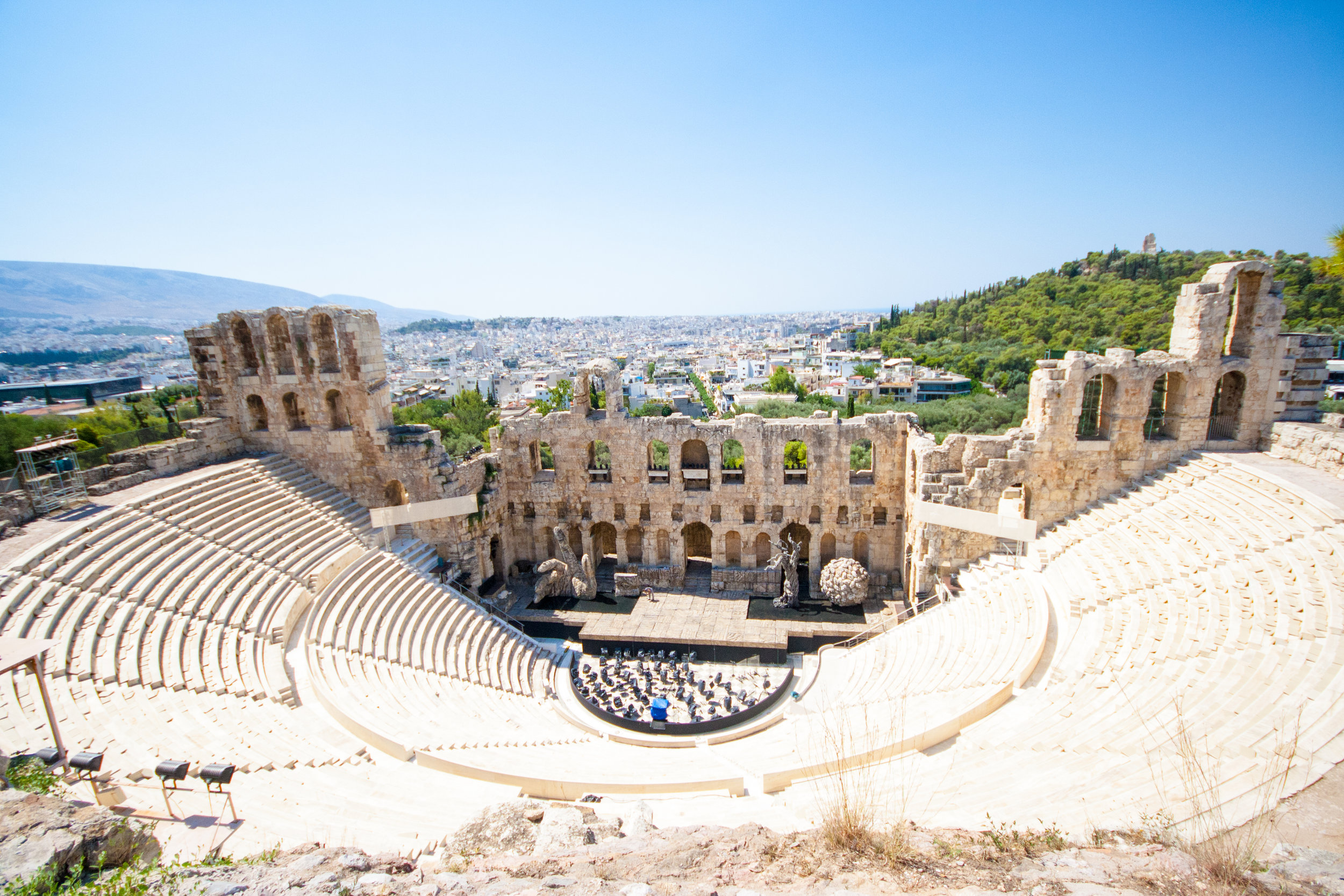 The Odeum of Herodes Atticus is a stone theatre on the southwest slope of the Acropolis and was completed in 161 AD.  They still hold regular concerts here.