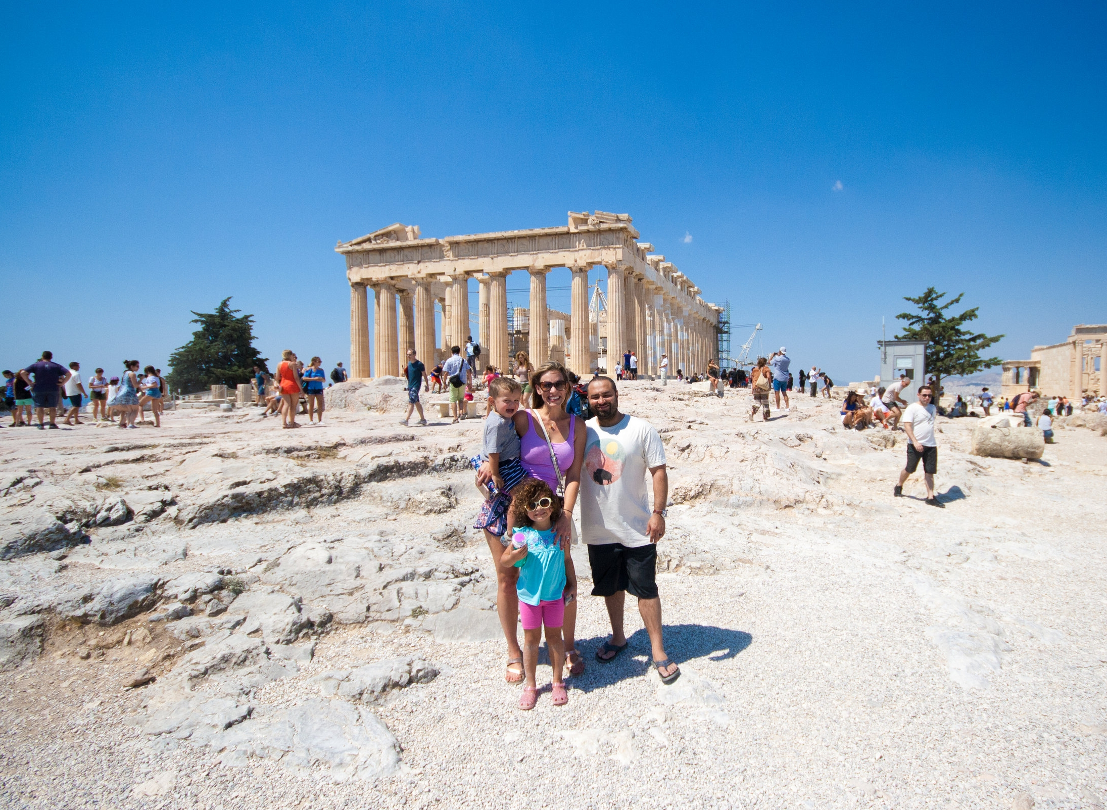 With the family in front of the Parthenon.  Silas was over it.  ;)