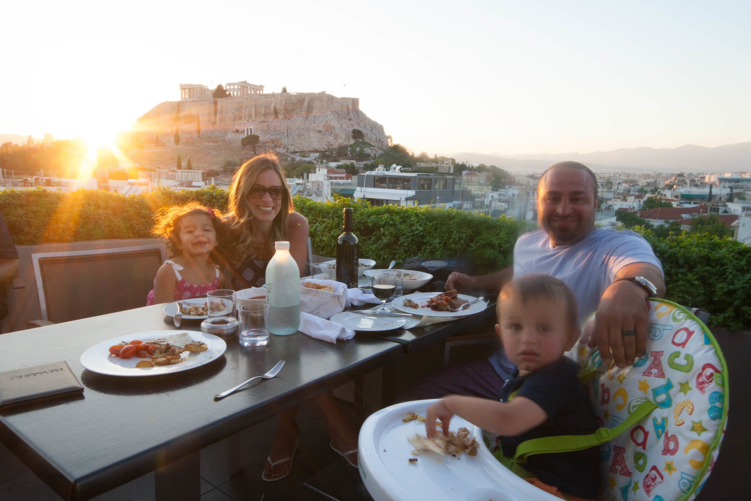 Family at Athens Gate Rooftop