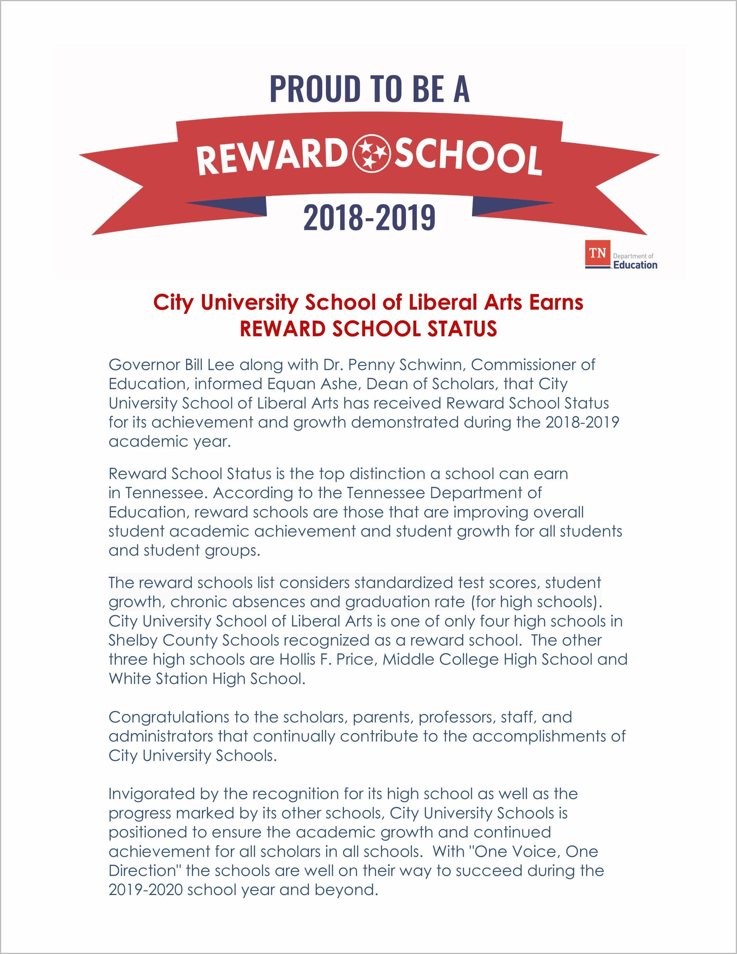 City University School of Liberal Arts Earns Reward School Status