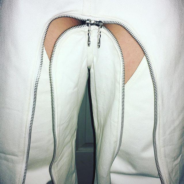#congregation Zipped chap trousers, back in @50mlondon