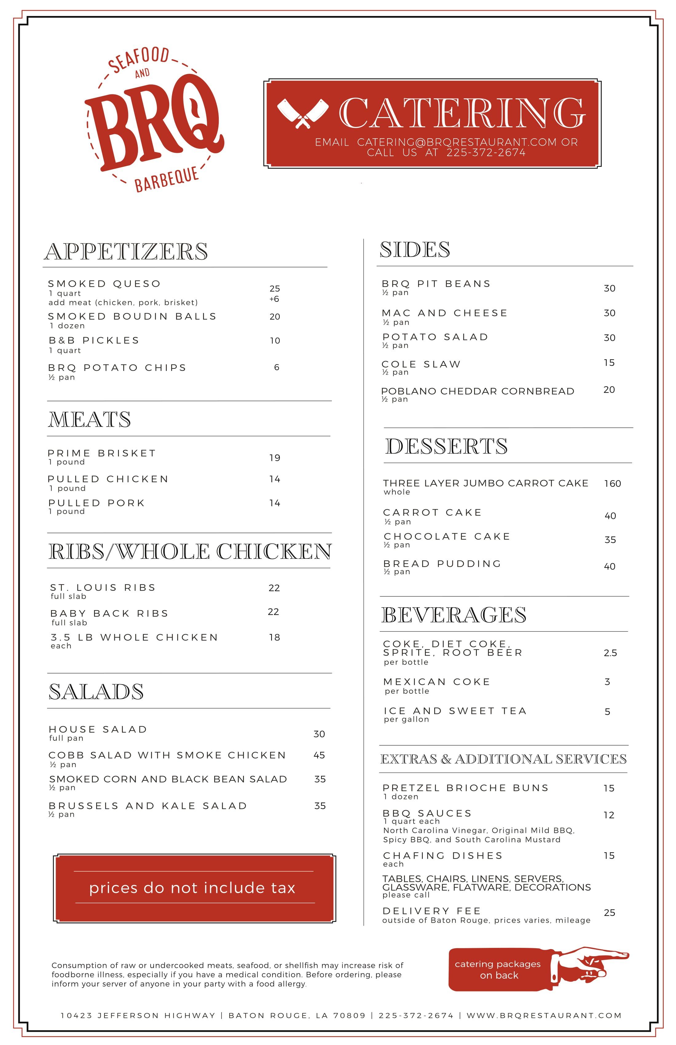 brq catering menu