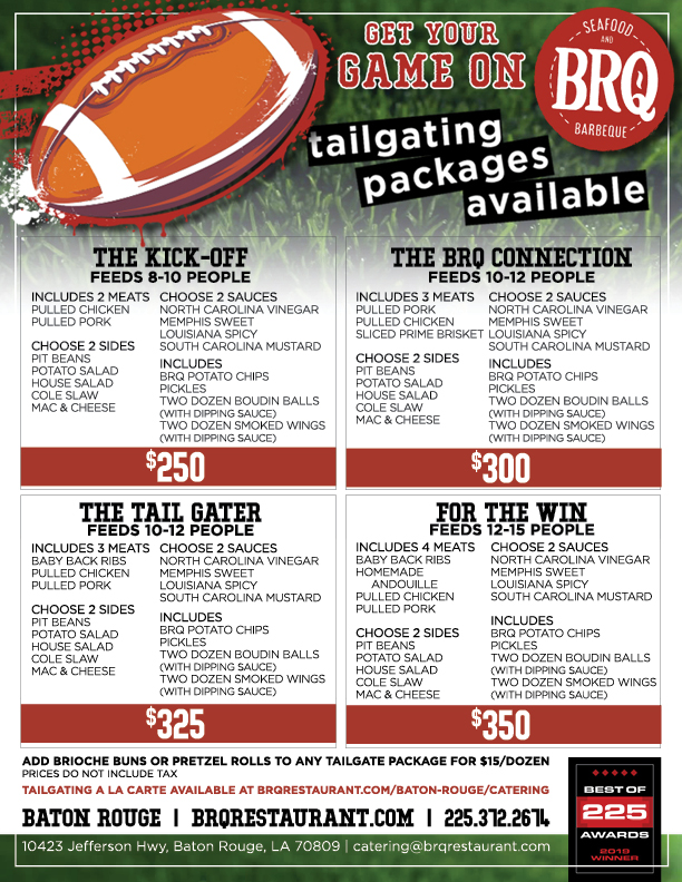 BRQ Baton Rouge Tailgating Packages