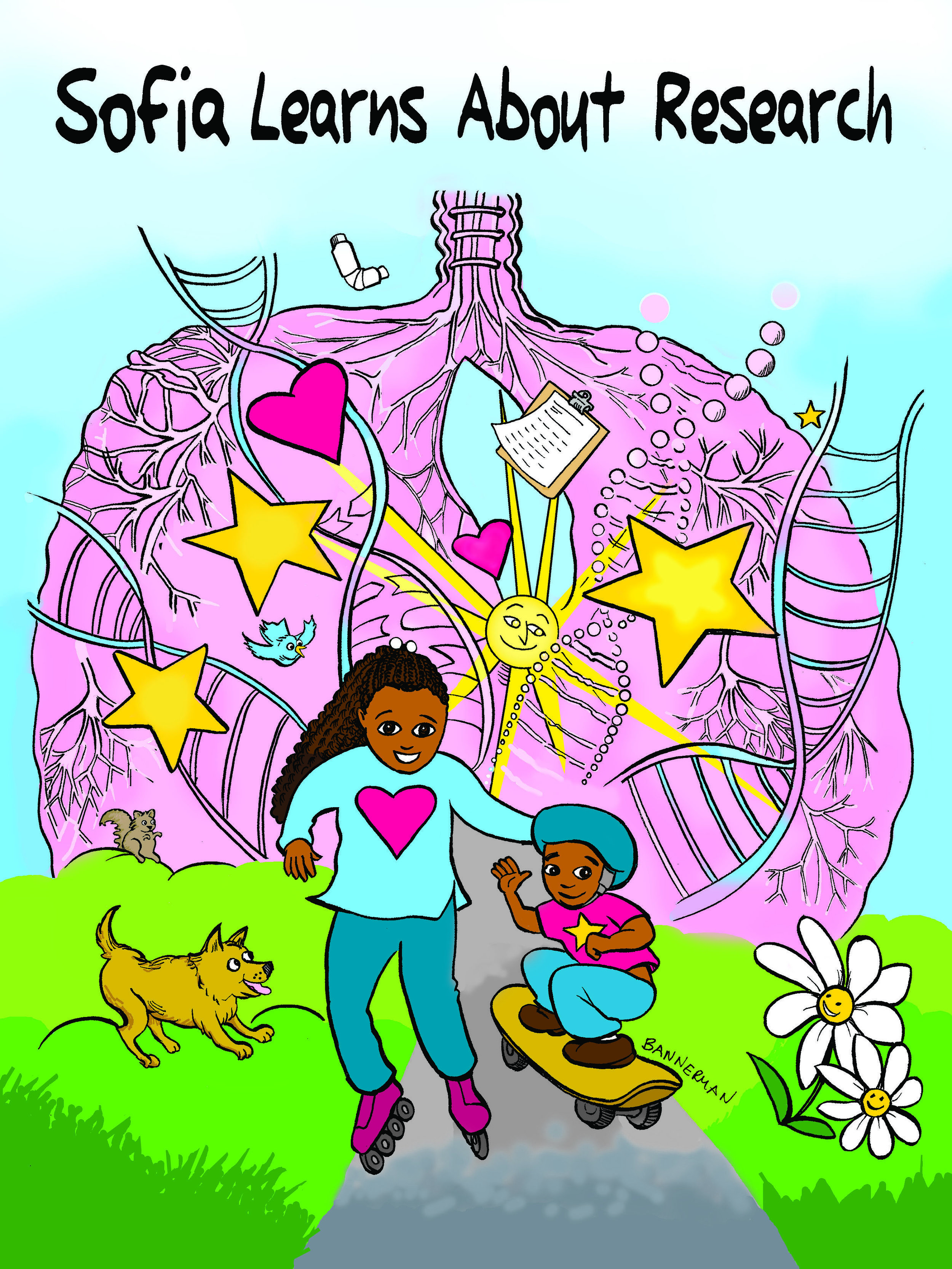 The cover of  Sophia Learns About Research , a 32-page activity book I illustrated for the SUNY at Buffalo Clinical and Translational Institute.