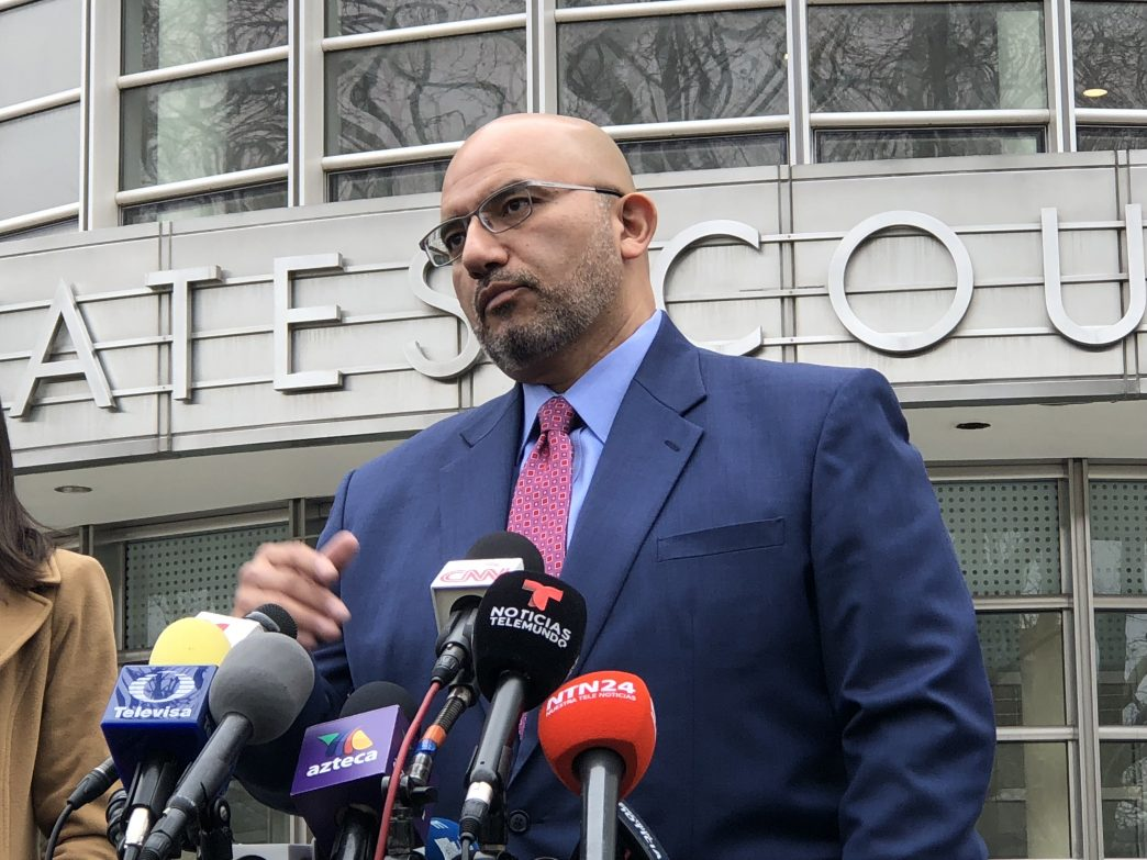 """Eduardo Balarezo, the lawyer of Mexican drug lord Joaquin """"El Chapo"""" Guzmán, speaking to the press after a hearing in Brooklyn. (Rebecca Gibian/RealClearLife)"""
