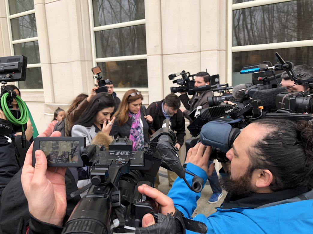 El Chapo's wife, Emma Coronel Aispuro, who came to court with two of their young daughters, leaving the Brooklyn courthouse on Feb. 15, 2018. (Rebecca Gibian/RealClearLife)