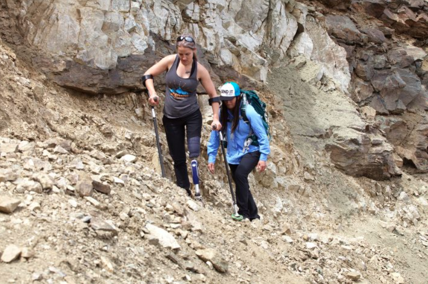 Veterans Kirstie Ennis (front) and Katelyn Sheehan will be attempting an all-veteran, all-female summit of Mount Denali in June. Their guides are also female. They are pictured here doing a training climb. (Gary DeJidas)