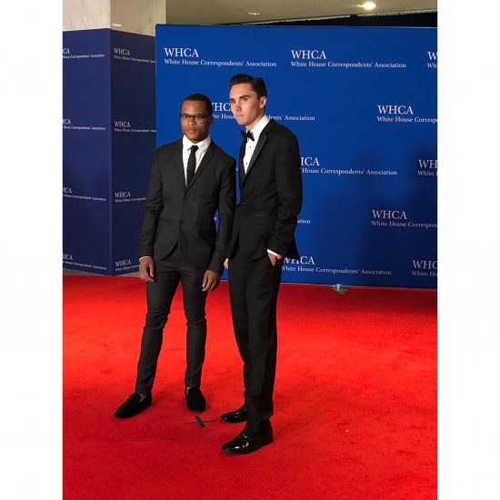 """Zion Kelly, a speaker at Mach for Our Lives, and David Hogg, a survivor of the shooting at Stoneman Douglass High School in Parkland, FL. Hogg told photographers after the photographs that he requests no photos of him smiling get posted. """"We're here for a reason,"""" he said. (Rebecca Gibian/RealClearLife)"""