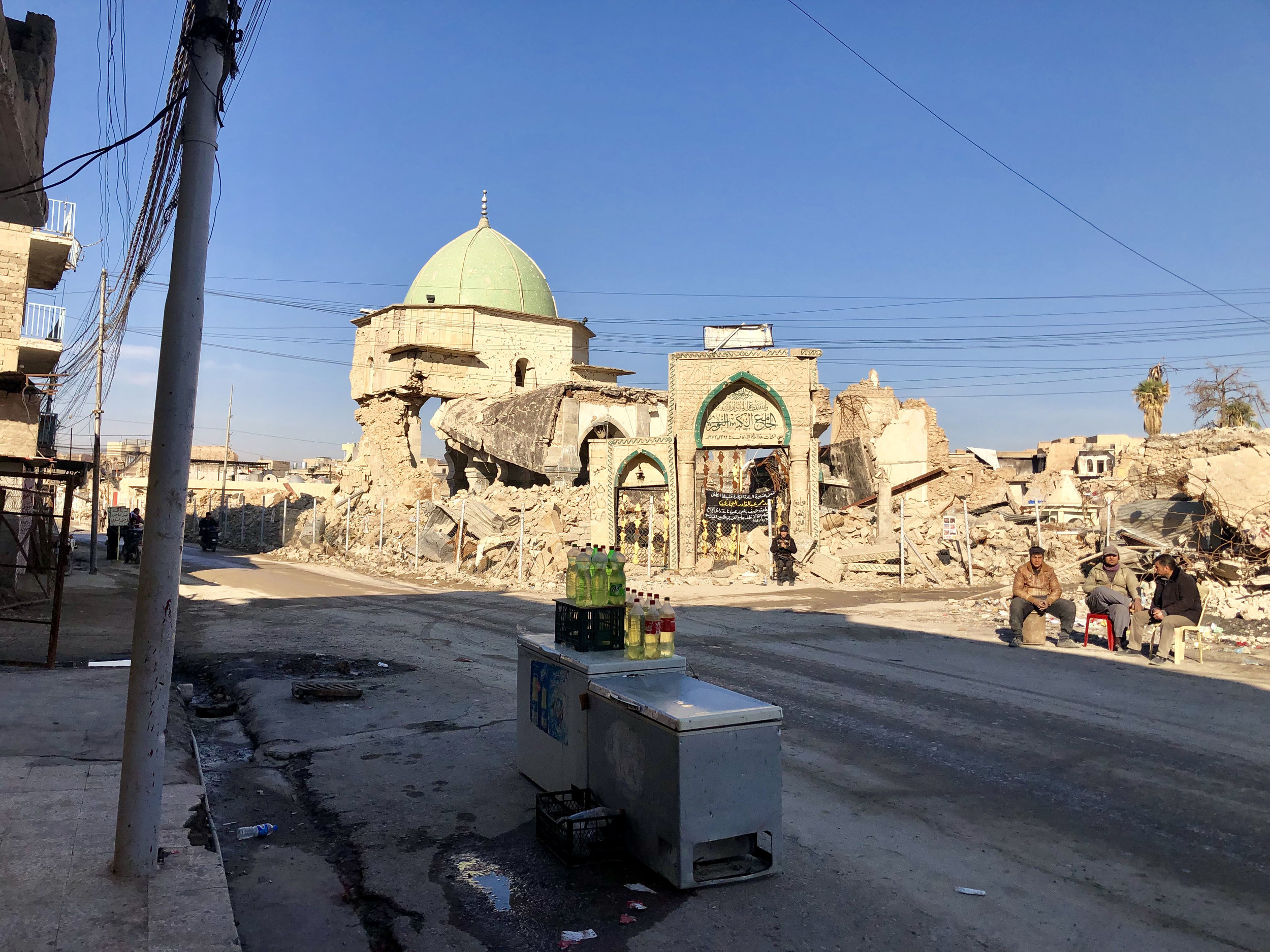 The Great Mosque of al-Nuri, where ISIS declared their caliphate (the belief in a single world government), in Mosul's Old City. November, 2018. (Rebecca Gibian)
