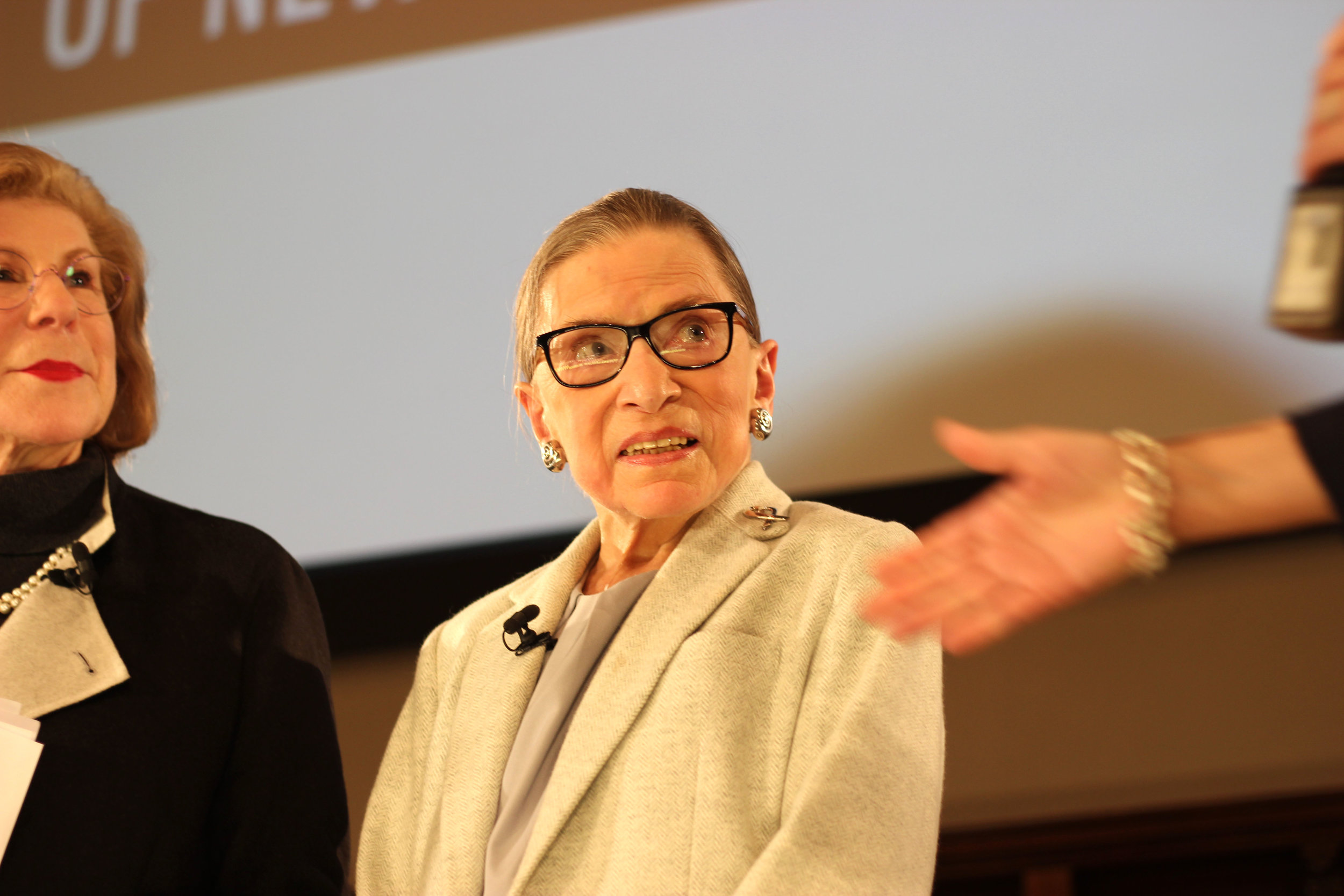 Justice Ruth Bader Ginsburg during a talk held in New York City December 2019. (Rebecca Gibian)