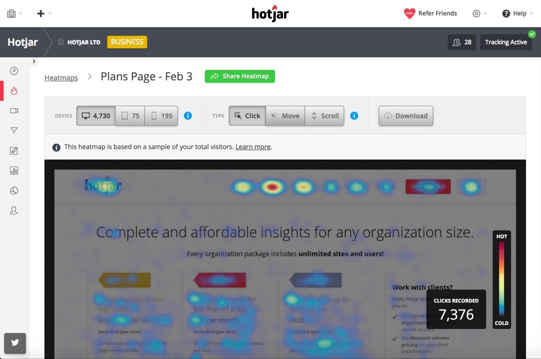 Hotjar is a great tool to learn how potential customers behave on your website.