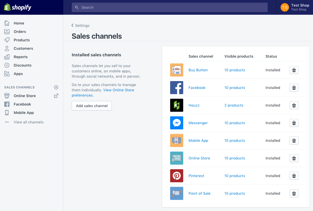 Numerous Sales Channels are build into Shopify like Facebook, Instagram, Amazon and much more.