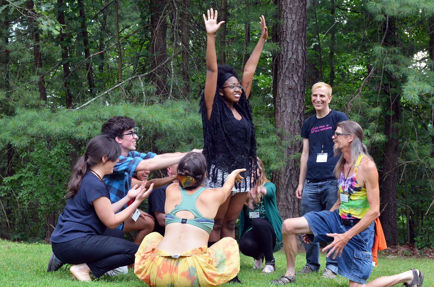 Participants in the Beyond Coal & Toward New Power Learning Exchange at Alternate ROOTS created short theatrical works inspired by their story circles. (photo by Nicole Garneau)