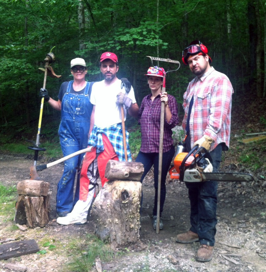 Work crew sets out for trail maintenance: Nicole Garneau, Will MacAdams, Bear Hebert, and Bob Martin. (photo by Carrie Brunk)
