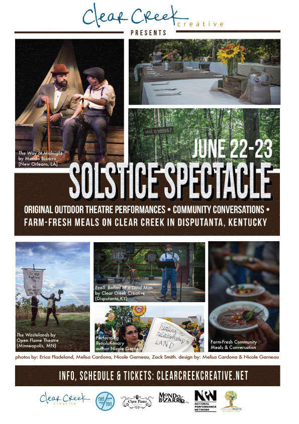 Above: Promotion for the 2018 Clear Creek Solstice Spectacle (Graphic design by Melisa Cardona and Nicole Garneau). Below: A short video capture of the Solstice Spectacle by 750four Productions (Tommy Johns & Will Hartsock).