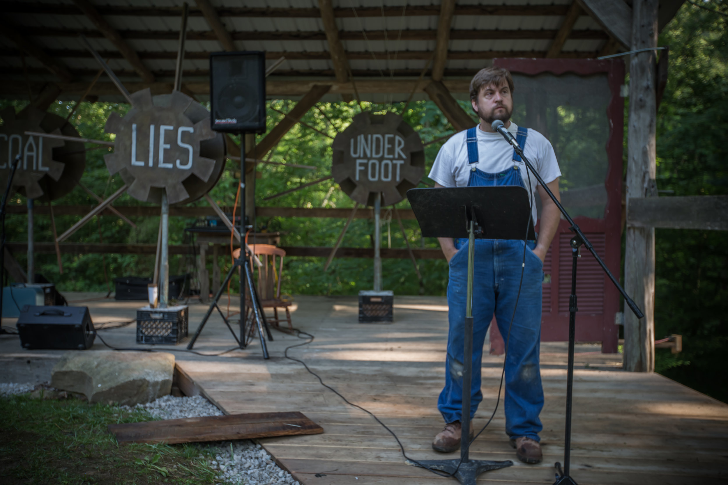 Ezell's first incarnation on stage at Clear Creek during Land, Water, Food, Story (photo by Melisa Cardona).