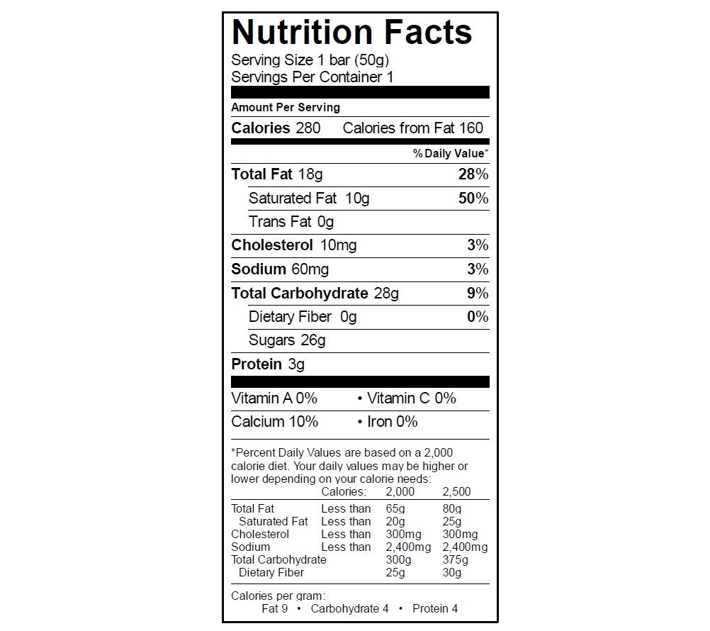 EGO Cookies & Cream Nutrition