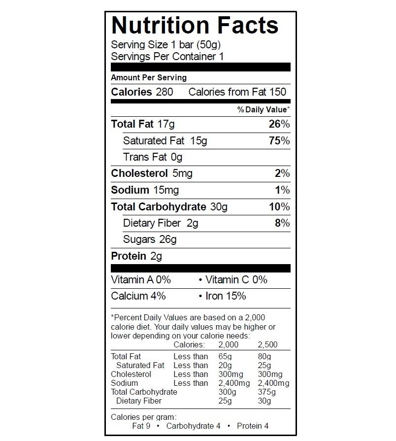 EGO Dark Chocolate Bar Nutrition
