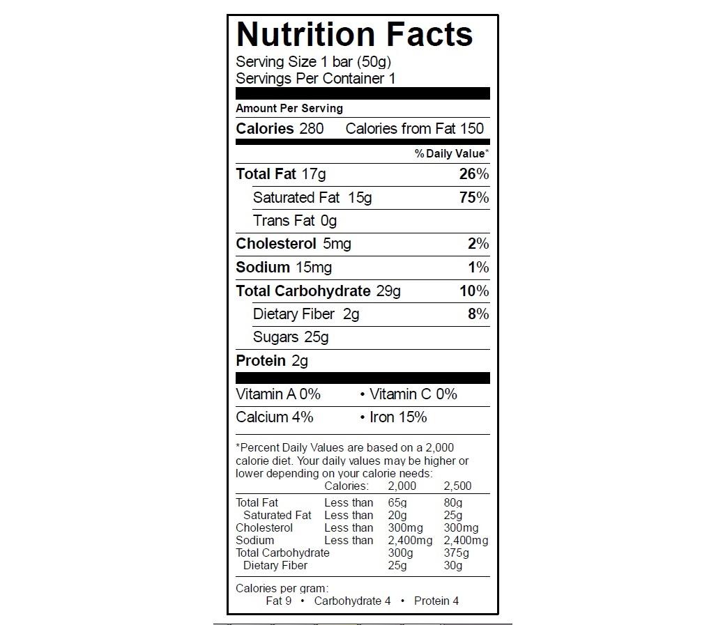 EGO Espresso Bar Nutrition Info