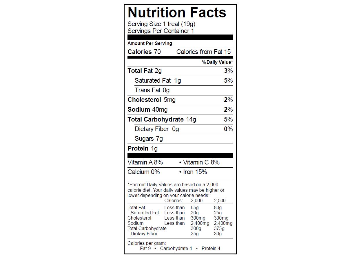 EGO Rice Krispy Treat Nutrition Info