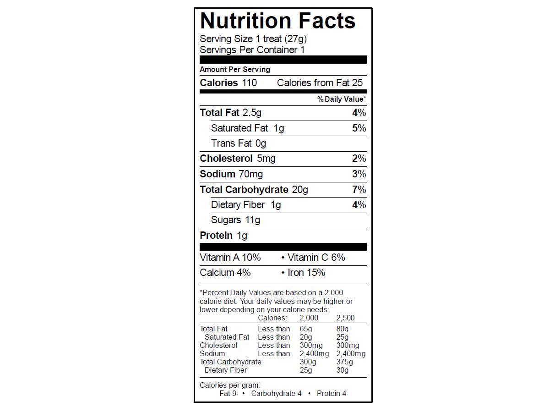 EGO Cinnamon Toast Crunch Treat Nutrition Info