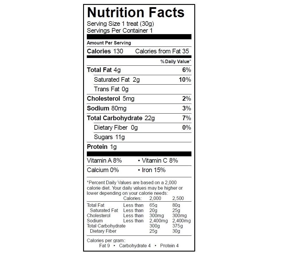 EGO Cookies & Cream Treat Nutrition info
