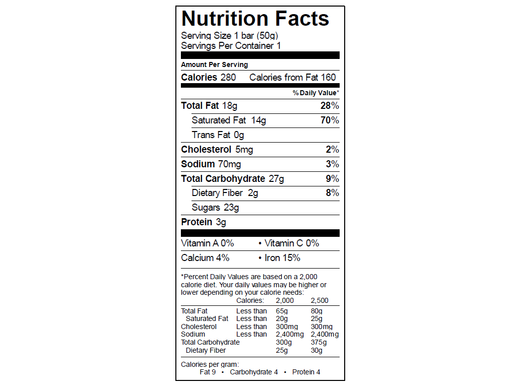 EGO Salted Almond Bar Nutrition Info