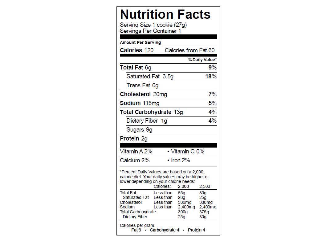 EGO PB Cookie Nutrition Info