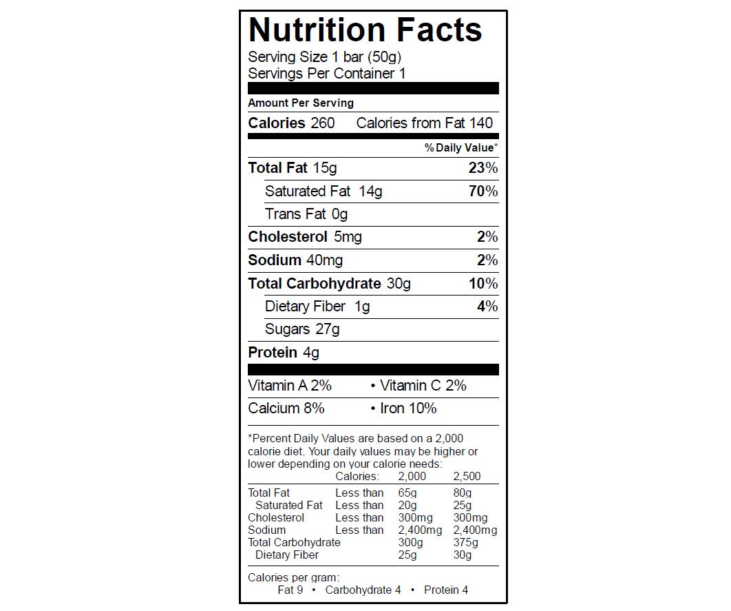 EGO Crunch Bar Nutrition Info