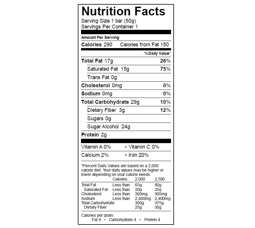 EGO Peanut Butter Bar Nutrition Info