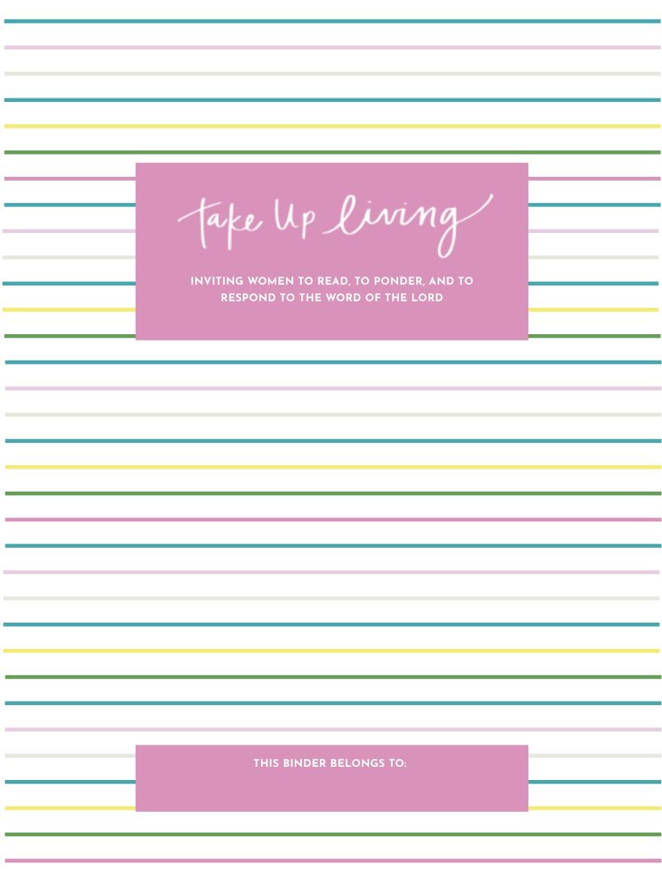 Rainbow Stripe Binder Cover + Start Page -