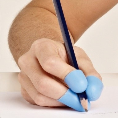 Writing Claws act as a brace that holds the fingers in position which decreases the necessary pinch strength and reduces joint stress while writing.