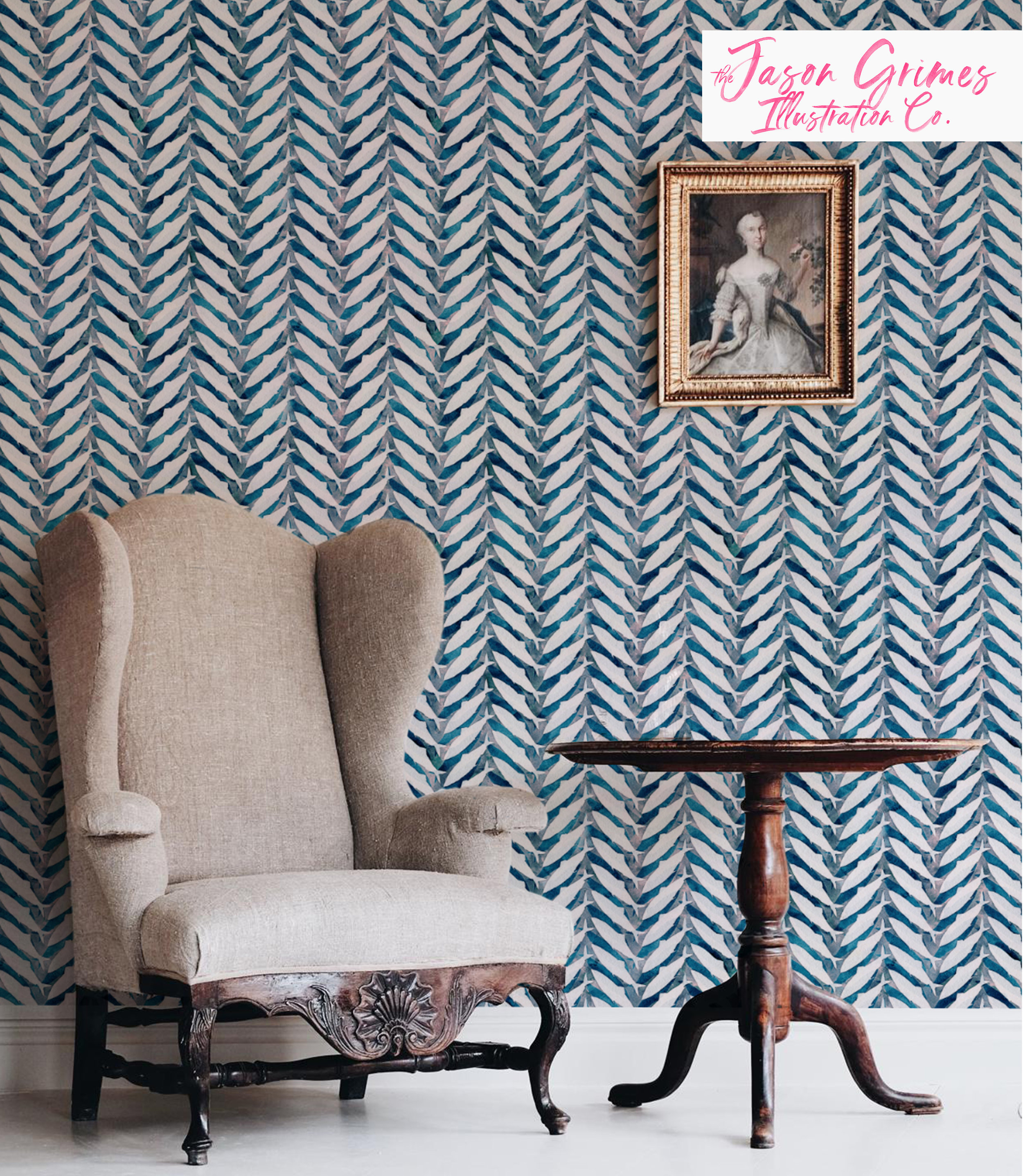 Herring Herringbone  available as wallpaper, fabric by the yard and wrapping paper through Spoonflower.