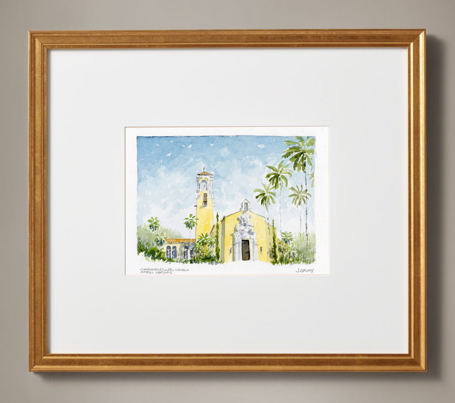Coral Gables Congregational watercolor, $65 signed print