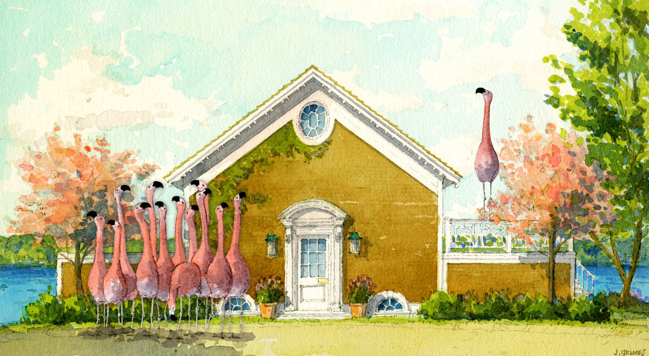 THERE'S SOMETHING WRONG WITH THE FLAMINGOS . Boat House, 2017. Flamboyance, 2018.