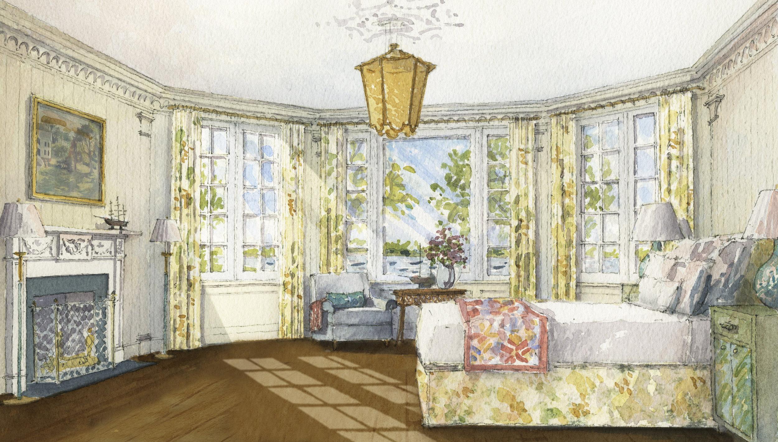 Master bedroom concept watercolor