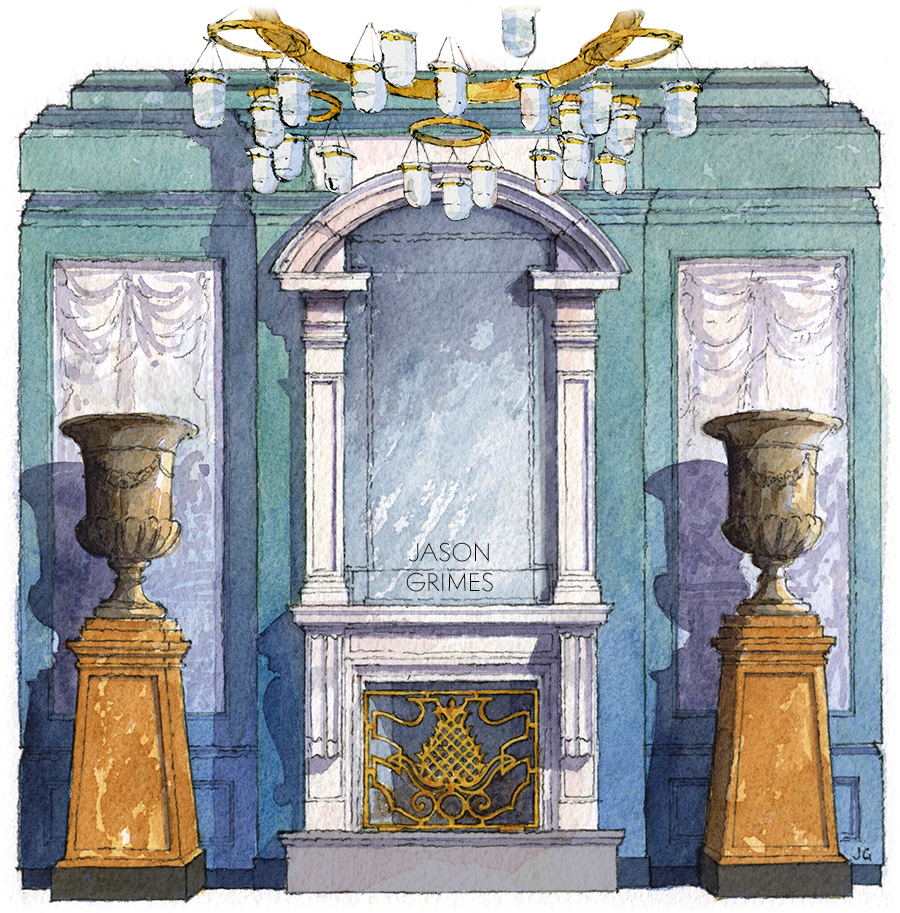 Watercolor study of the lobby's Medici Chapel inspired fireplace wall.