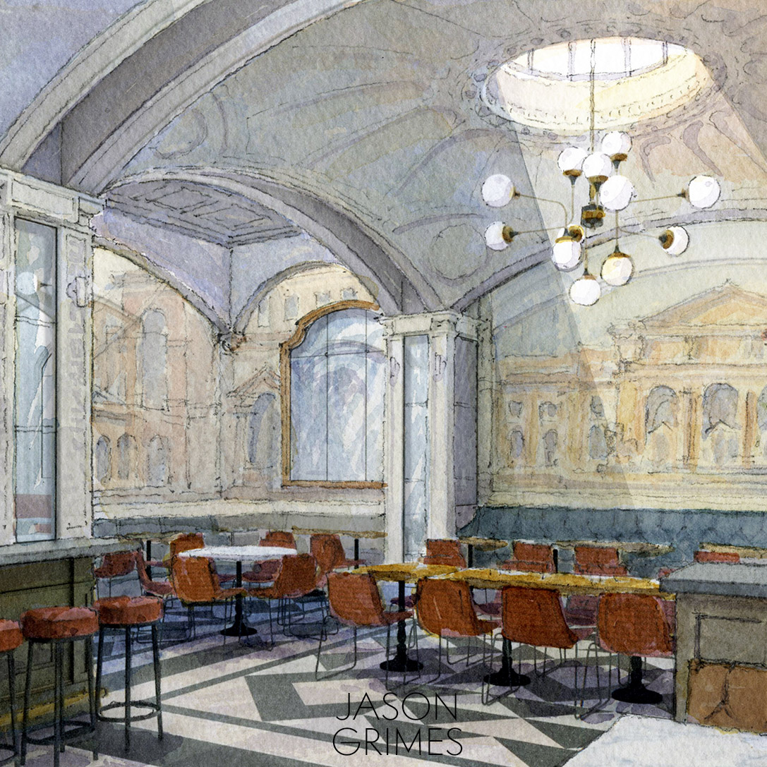 The Dining Room  - Floating plaster vaults make way for skylights lighting impressionistic wall murals and Soane inspired detailing.