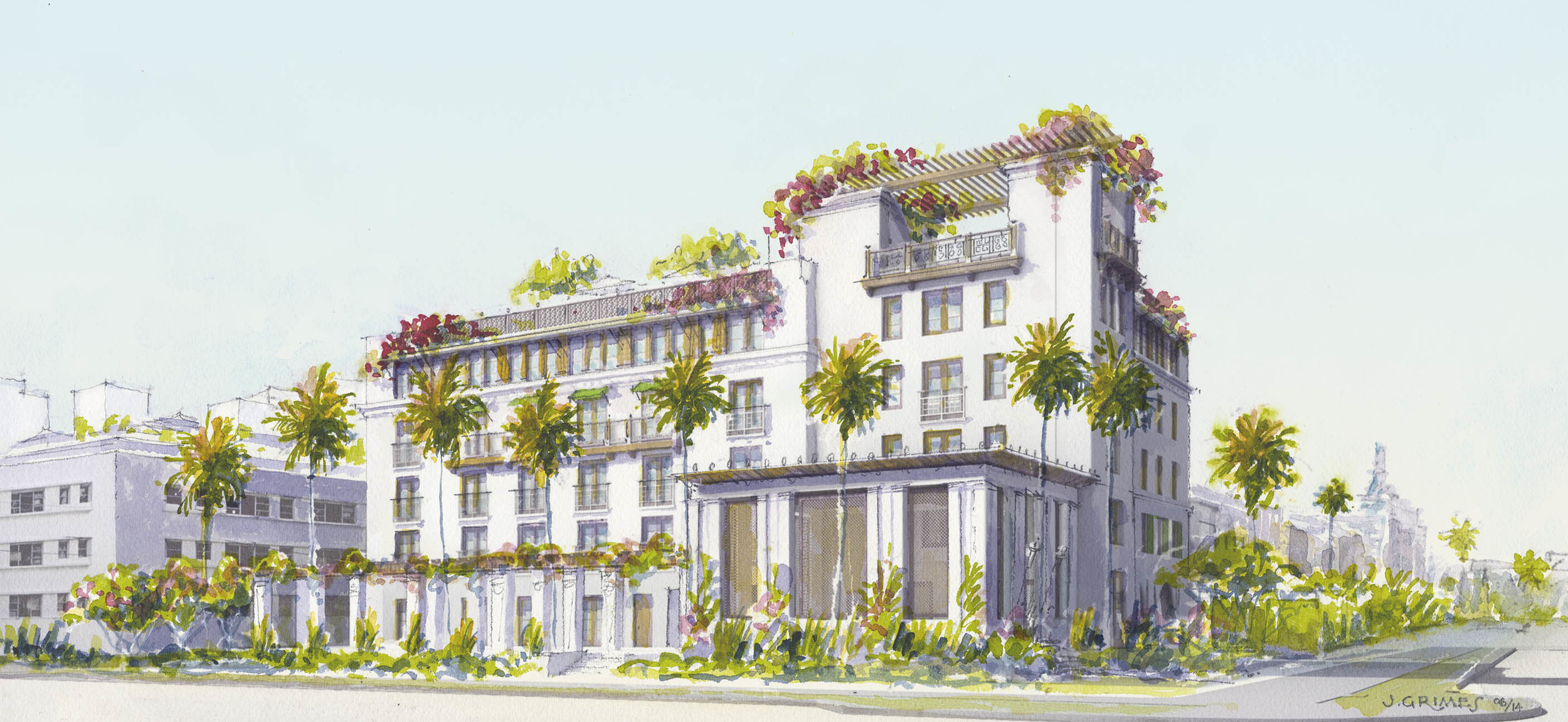A Villa Kerylos inspired oasis in South Beach, complete with roof pool terrace, dining garden and impluvium roofed lobby made perfect sense to me. The Planning & Zoning Department loved it, but rejected the design, complaining it wasn't modern enough. Apparently people would be confused that it wasn't old. I moved out of Florida for a reason.