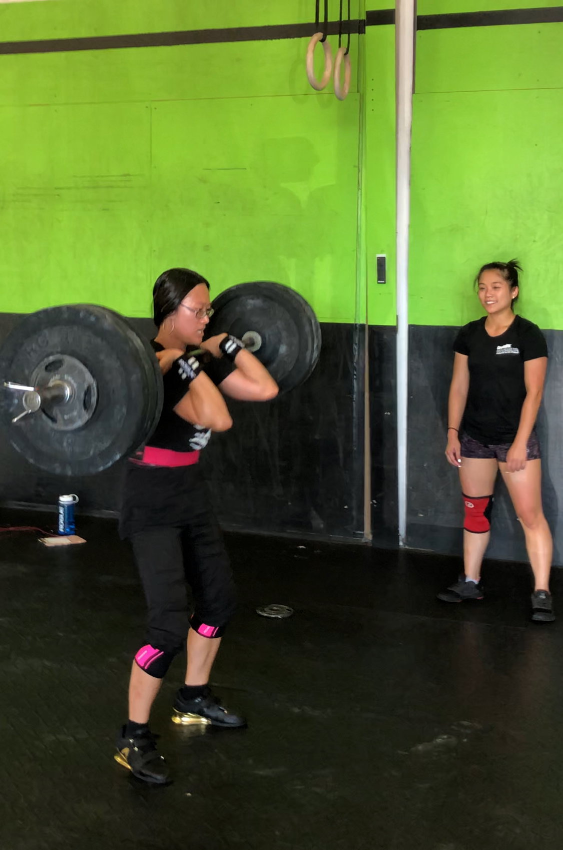 Monday was filled with PRs.   Here Yen smashes her goal of 150#.   Her sister Phuong, smiles and cheers her on after hitting at PR at 140#.   Nice work everyone!