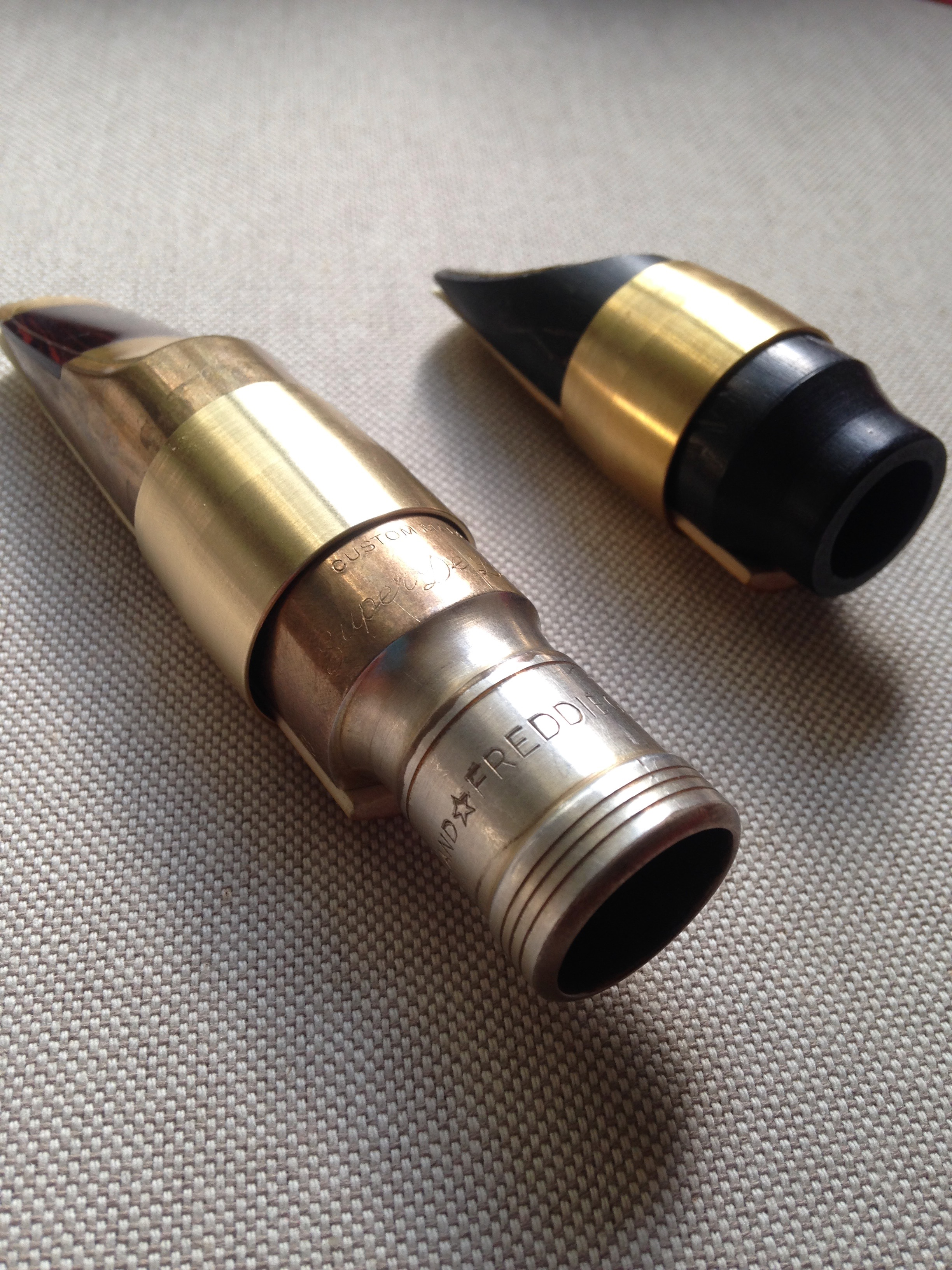 Two custom sized Aidü ligatures, one is a Gregory Tenor piece, the other is a Lebayle Soprano piece.