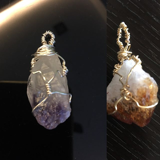 Crystals.. Never imagined the day that I would actually make them.. wire wrapped by yours truly 😝