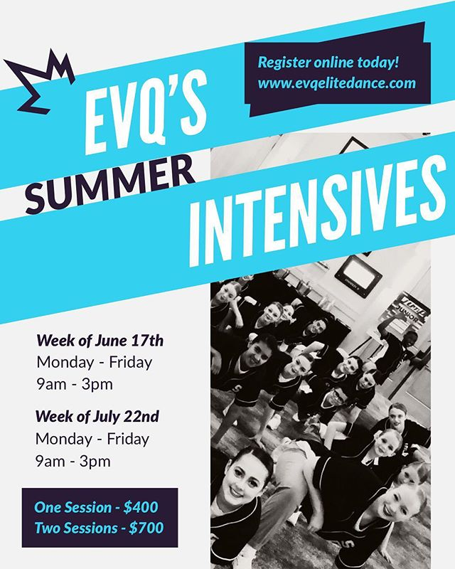 EVQ Elite Dance Studio is once again offering summer dance intensives for dancers ages 8-18! More information available on our website now: www.evqelitedance.com  Enrollment will open Wednesday, March 20th! Click link in bio to register today!  #evqelitedance #evq #summerdanceintensives #ballet #jazz #lyrical #hiphop #contemporary #trainhard #summersarefordancing