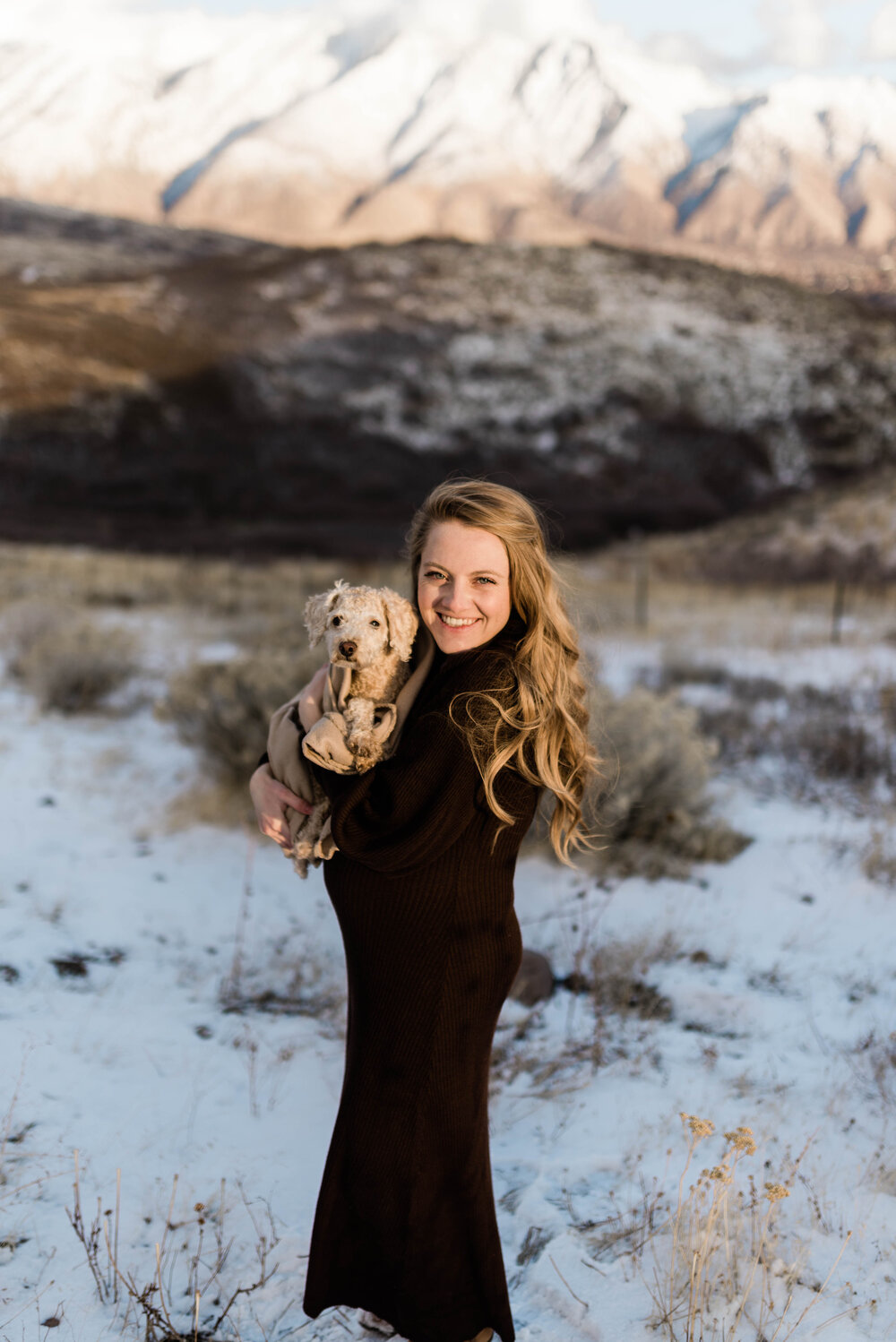 maternity photos with dog | toy poodle | IVF baby
