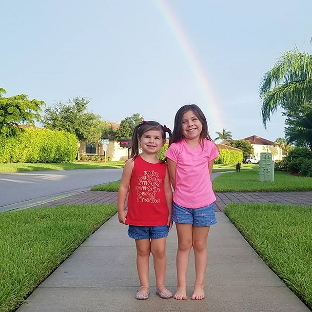 Rainbows for days! . . #summer #summernights #rainbows #rainbow #sisters